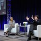"""Rachel Robinson, left, and filmmaker Ken Burns participate in the """"Jackie Robinson"""" panel at the PBS Winter TCA on Monday, Jan.18, 2016, in Pasadena, Calif. (Photo by Richard Shotwell/Invision/AP)"""