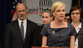Planned Parenthood president Cecile Richards speaks at a news conference in the Pennsylvania Capitol in opposition to legislation under consideration in the Pennsylvania House of Representatives that opponents say would give Pennsylvania the nation's most restrictive abortion law, Monday, April 11, 2016, in Harrisburg, Pa. Behind Richards are Gov. Tom Wolf, as well as Erica Goldblatt Hyatt, center, and Kelsey Williams, who described their own late-term abortions because of severe or fatal complications. (AP Photo/Marc Levy)