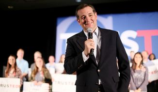Republican presidential candidate, Sen. Ted Cruz, R-Texas, speaks to supporters during a campaign event, Monday, April 11, 2016, in the San Diego. (AP Photo/Sandy Huffaker)