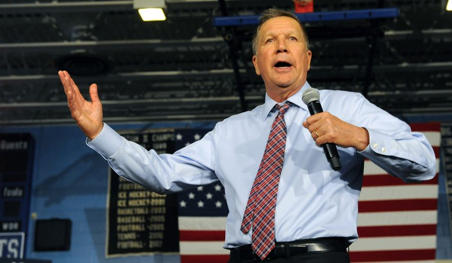 Republican presidential candidate Ohio Gov. John Kasich speaks during a campaign event at the La Salle Institute on Monday, April 11, 2016, in Troy, N.Y. (AP Photo/Hans Pennink)