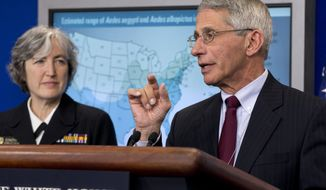 Dr. Anthony Fauci, director of NIH/NIAID, right, with Dr. Anne Schuchat, principal deputy director of the Center for Disease Control, speaks about the Zika virus during a news briefing at the White House in Washington, Monday, April 11, 2016. (AP Photo/Jacquelyn Martin)