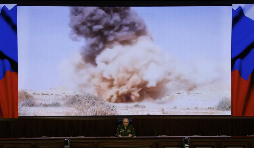 Lt. Gen. Sergei Rudskoi of the Russian military's General Staff speaks at a briefing in Moscow, Russia, on Monday, April 11, 2016. The Russian military says it is helping the Syrian army fight the al Qaeda-affiliated Nusra Front around Aleppo, but has no plan to storm the city. (AP Photo/Ivan Sekretarev)