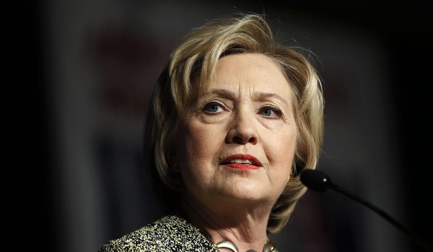 In this April 6, 2016, photo, Democratic presidential candidate Hillary Clinton speaks at the Pennsylvania AFL-CIO Convention in Philadelphia. A new Associated Press-GfK poll finds that Americans trust Democratic presidential front-runner Clinton more than Republican leader Donald Trump to handle a wide range of issues, from immigration to health care to nominating Supreme Court justices. (AP Photo/Matt Rourke)