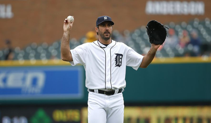 Detroit Tigers pitcher Justin Verlander asks for a new baseball against the Pittsburgh Pirates in the first inning of a baseball game, Monday, April 11, 2016, in Detroit. (AP Photo/Paul Sancya)