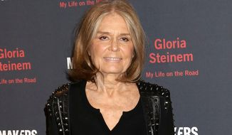 "In this Oct. 20, 2015 file photo, Gloria Steinem attends a party for her new book, ""My Life On The Road"", in New York. (Photo by Greg Allen/Invision/AP, FIle)"