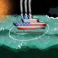 Illustration on the course of America during the next presidency by Alexander Hunter/The Washington Times