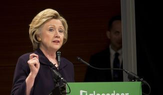 Democratic presidential candidate Hillary Clinton speaks during a Glassdoor Pay Equality Roundtable, Tuesday, April 12, 2016, in New York. (AP Photo/Mary Altaffer)
