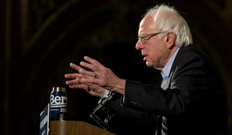 Democratic presidential candidate, Sen. Bernie Sanders, I-Vt., speaks during a campaign event at the United Palace, Saturday, April 9, 2016, in the Washington Heights neighborhood of New York. (AP Photo/Mary Altaffer) ** FILE **
