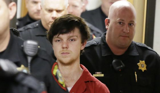 In this Feb. 19, 2016, file photo, Ethan Couch is led by sheriff deputies after a juvenile court for a hearing in Fort Worth, Texas. (AP Photo/LM Otero, File)