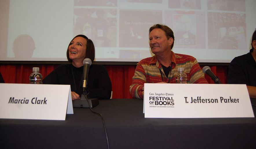 """O.J. Simpson prosecutor Marcia Clark (left) and crime author T. Jefferson Parker at the panel """"Crime Fiction: The Long Arm of the Law"""" at the Los Angeles Times Festival of Books.  (Ed Rampell)"""