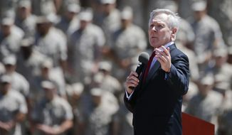 Secretary of the Navy Ray Mabus speaks to Marines regarding women in combat during a speech at the Camp Pendleton Marine Base, Tuesday, April 12, 2016, at Camp Pendleton, Calif. (AP Photo/Lenny Ignelzi)