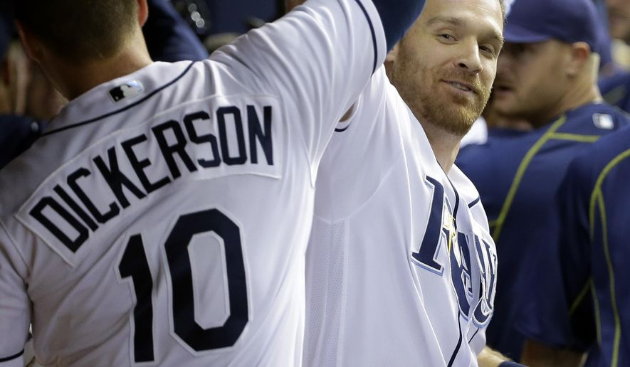 Tampa Bay Rays' Logan Forsythe, right, celebrates with teammate Corey Dickerson after hitting a two-run home run off Cleveland Indians starting pitcher Corey Kluber during the eighth inning of a baseball game Tuesday, April 12, 2016, in St. Petersburg, Fla. Rays' Kevin Kiermaier also scored. (AP Photo/Chris O'Meara)