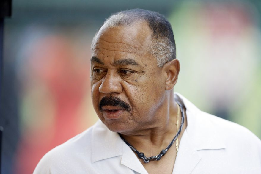 FILE- In a March 21, 2015 file photo, Detroit Tigers special assistant to the president Willie Horton is seen before a spring training exhibition baseball game in Lakeland, Fla. The former site of Tiger Stadium in Detroit will be dedicated in the name of hometown sports hero Willie Horton. Duffey Petrosky spokeswoman Jo Bourjaily says Tuesday, April 12, 2016 that a ceremony is scheduled Wednesday. The firm does public relations for the Detroit Police Athletic League. The site is expected to be redeveloped into a youth sports facility and new Detroit PAL headquarters. (AP Photo/Carlos Osorio, File)