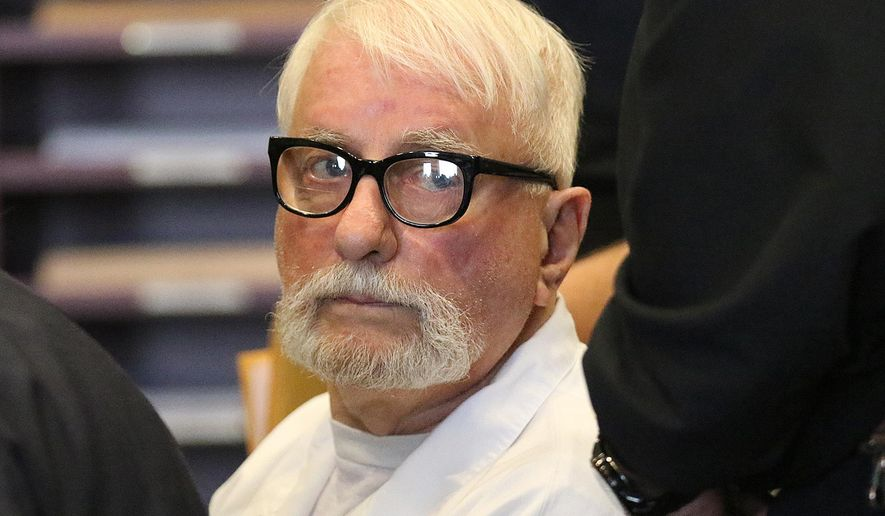 FILE - In this March 29, 2016 file photo, Jack McCullough, appears in court for a hearing on his petition for post-conviction relief at the DeKalb County Courthouse in Sycamore, Ill. Attorneys for the retired policeman who says he was wrongfully convicted in the 1957 slaying of a 7-year-old Illinois girl will be back in court to press for his release. McCullough's lawyers filed an amended petition for post-conviction relief Monday, April 11, 2016 asking a DeKalb County judge to either vacate the conviction or order a new trial that could set him free. (Danielle Guerra/Daily Chronicle via AP, File) MANDATORY CREDIT, CHICAGO TRIBUNE OUT