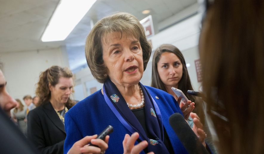 Sen. Dianne Feinstein, California Democrat, has drafted a bill that insists companies help cracking the encryption on their devices under court orders. (Associated Press)