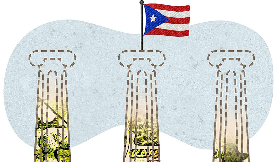 Puerto Rico Debt Restructure Illustration by Greg Groesch/The Washington Times