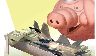 Illustration on Congressional pork spending by Alexander Hunter/The Washington Times