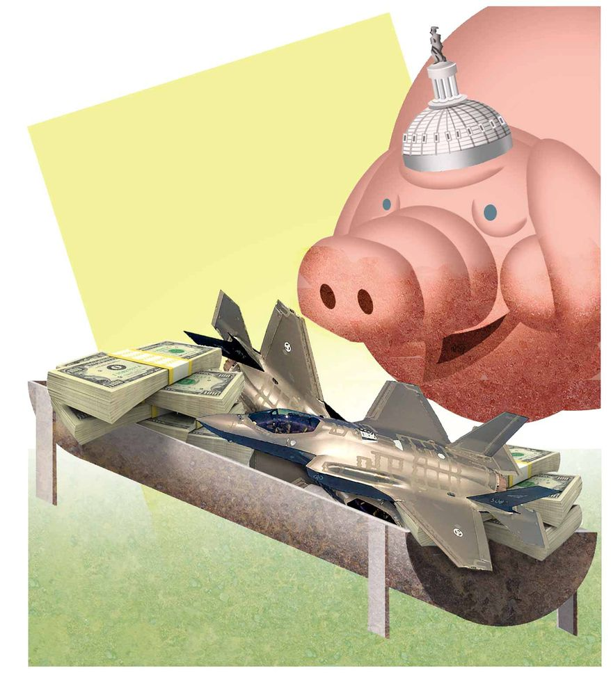 Illustration on Congressional pork spending by Alexander Hunter/The Washington Times