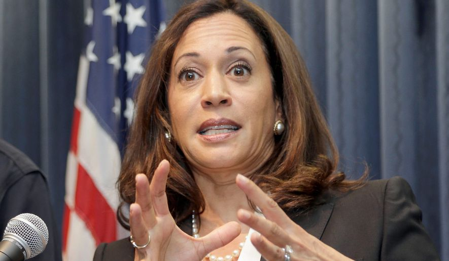 California Attorney General Kamala Harris has provoked the right wing but has little incentive to heed calls for her resignation. (Associated Press)