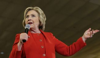 Democratic presidential candidate Hillary Clinton speaks to supporters Wednesday, April 13, 2016, in the Bronx borough of New York. (AP Photo/Frank Franklin II)