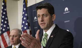 House Speaker Paul Ryan of Wis., joined by House Majority Whip Steve Scalise of La., left, and other GOP leaders, meets with reporters following a closed-door caucus on Capitol Hill in Washington, in this Wednesday, April 13, 2016, file photo. (AP Photo/J. Scott Applewhite) ** FILE **