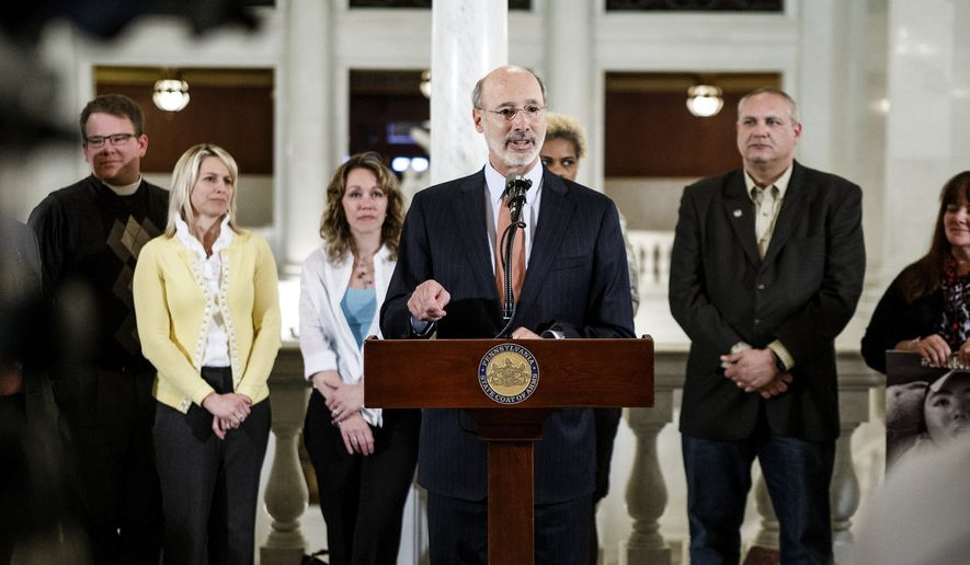 Pennsylvania Gov. Tom Wolf speaks after the Pennsylvania state House voted to legalize medical marijuana, Wednesday, April 13, 2016, in Harrisburg, Pa. Pennsylvania is set to become the latest state to legalize medical marijuana as the Legislature sent a bill to the governor on Wednesday, after parents of children suffering from debilitating seizures circulated the Capitol urging lawmakers to act. (Dan Gleiter/PennLive.com via AP) MANDATORY CREDIT; MAGS OUT