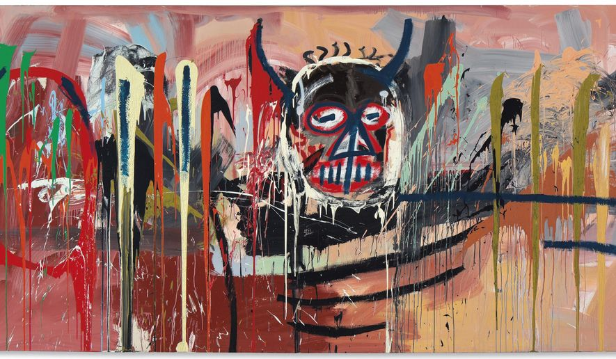 "This undated photo provided by Christie's shows Jean-Michel Basquiat's self-portrait ""Untitled, 1982"" that has appeared in every major Basquiat retrospective. The monumental work, featuring splashes of explosive colors, is coming to auction in New York where it could bring $40 million on May 10 at Christie's post-war and contemporary art sale. (Christie's from The Estate of Jean-Michel Basquiat/ADAGP, Paris/ARS, NY 2016 via AP)"