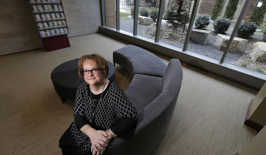 ADVANCED FOR RELEASE SATURDAY, APRIL 16, 2016 Rev. Karin Derenne oversees the chaplaincy program for employees and patients at St. Elizabeth Hospital and other Affinity Heath Systems locations. She is pictured in the spirituality room Friday, April 8, 2016, at St. Elizabeth Hospital in Appleton, Wis. (Dan Powers/USA Today Network-Wisconsin via AP)