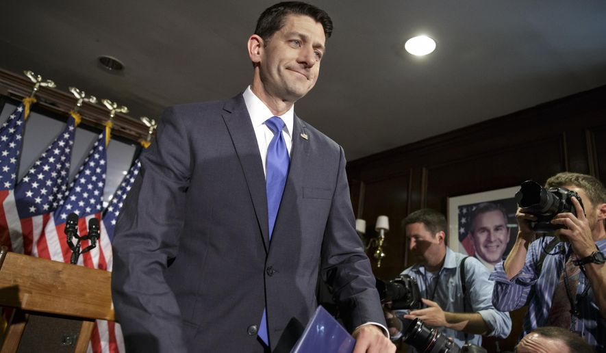 House Speaker Paul Ryan of Wis. finishes a news conference at the Republican National Committee on Capitol Hill in Washington, where he ruled himself out of the Republican presidential race once and for all. The statement comes after weeks of speculation that Ryan could emerge as the GOP nominee if there's a contested Republican convention.  (AP Photo/J. Scott Applewhite)