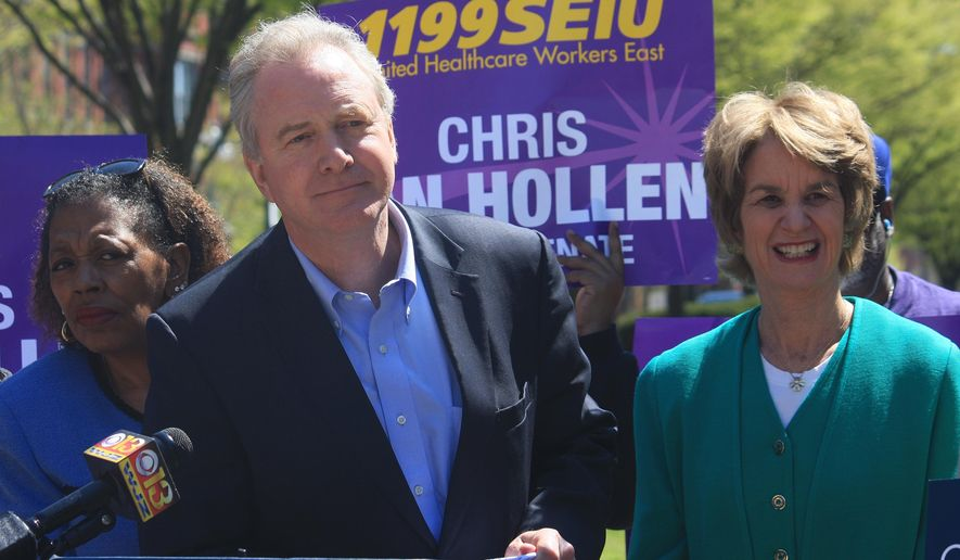 Maryland Rep. Chris Van Hollen speaks during a news conference in Baltimore on Wednesday, April 13, 2016. Hollen said that a new ad released by a PAC supporting his opponent, Rep. Donna Edwards, in Maryland's U.S. Senate Democratic primary is misleading voters about his positions on gun control. Former Maryland Lt. Gov. Kathleen Kennedy Townsend is standing right and state Sen. Joan Carter Conway, D-Baltimore, is standing left. The White House has asked for the ad to be pulled, because it uses President Barack Obama's image in a misleading context. (AP Photo/Brian Witte) ** FILE **