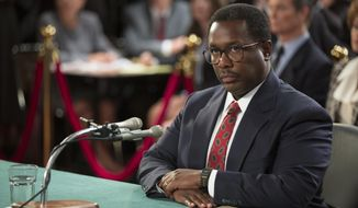 "Wendell Pierce portrays Clarence Thomas in ""Confirmation."" (HBO via Associated Press)"