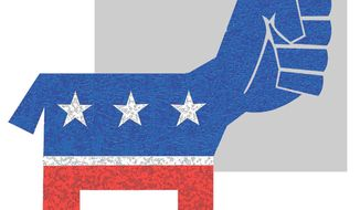 Illustration on the radicalization of the Democratic Party by Alexander Hunter/The Washington Times
