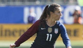 United States' Ali Krieger (11) in action during the second half of an international friendly soccer match against Colombia, Sunday, April 10, 2016, in Chester, PA. The United States won 3-0. (AP Photo/Chris Szagola)