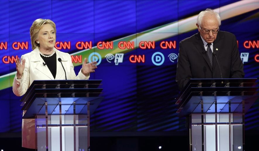 "Sen. Bernard Sanders has largely been a ""reliable supporter of the NRA"" during his 25 years in Congress, Hillary Clinton said at a Democratic presidential debate in Brooklyn. (Associated Press)"