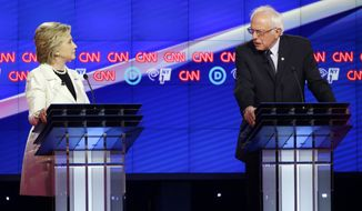 Sen. Bernard Sanders and Hillary Clinton came out swinging Thursday night during the CNN Democratic Presidential Primary Debate at the Brooklyn Navy Yard. (Associated Press)