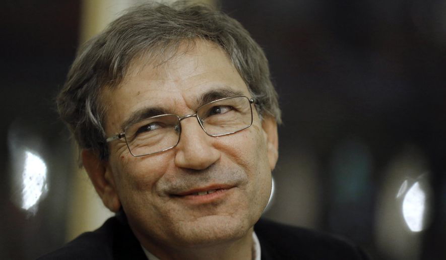 "FILE - In this Monday, Oct. 29 2012 file photo, Orhan Pamuk, Turkish novelist and a Nobel Laureate, is seen at the French culture ministry in Paris. Elusive Italian author Elena Ferrante and Turkish Nobel laureate Orhan Pamuk are among six finalists for the 2016 Man Booker International Prize for fiction. Ferrante's Neapolitan tale ""The Story of the Lost Child"" and Pamuk's Istanbul-set ""A Strangeness in My Mind"" are on a shortlist, announced Thursday, that includes books from Asia, Africa and Europe. Pamuk is one of Turkey's best-known authors and won the Nobel Prize for literature in 2006. Ferrante has topped best-seller lists around the world with her four novels of friendship and life in Naples, but her identity remains a mystery. She writes under a pseudonym and rarely gives interviews. (AP Photo/Jacquues Brinon, file)"