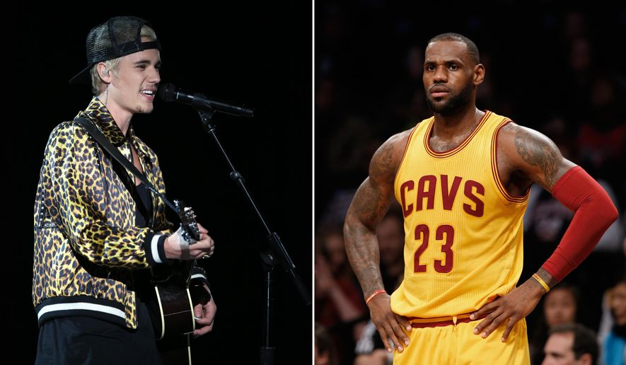 FILE - At left, in a Feb. 15, 2016 file photo, Justin Bieber performs at the 58th annual Grammy Awards in Los Angeles. At right, in a March 24, 2016 file photo, Cleveland Cavaliers forward LeBron James (23) reacts in the first half of an NBA basketball game against the Brooklyn Nets,  in New York. The Cavs may have a conflict with The Biebs. If Cleveland's opening-round NBA playoff series against Detroit goes to five games, it's scheduled to be played on April 26, which is also the night pop singer Justin Bieber is set to bring his tour to Quicken Loans Arena.  (AP Photo/File)