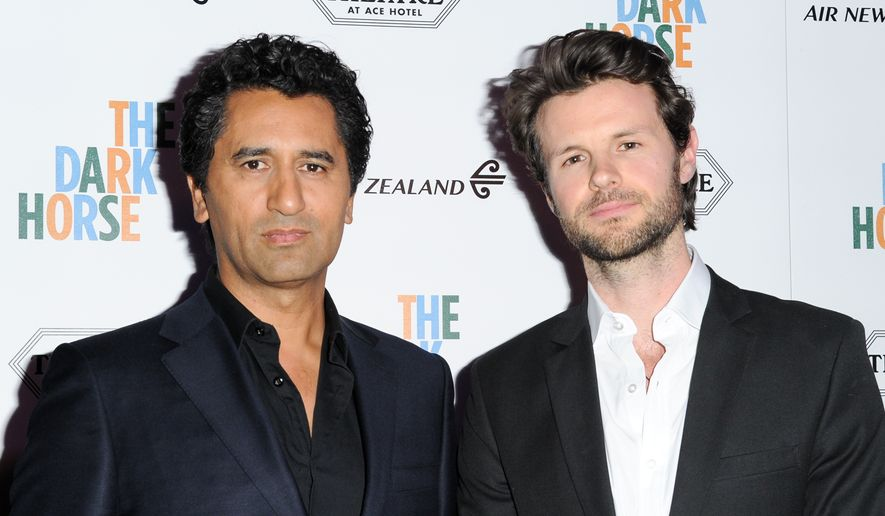 "Cliff Curtis, left, and James Napier Robertson attend the LA Premiere of ""The Dark Horse"" held at The Theatre at Ace Hotel on Wednesday, March 30, 2016, in Los Angeles. (Photo by Richard Shotwell/Invision/AP)"