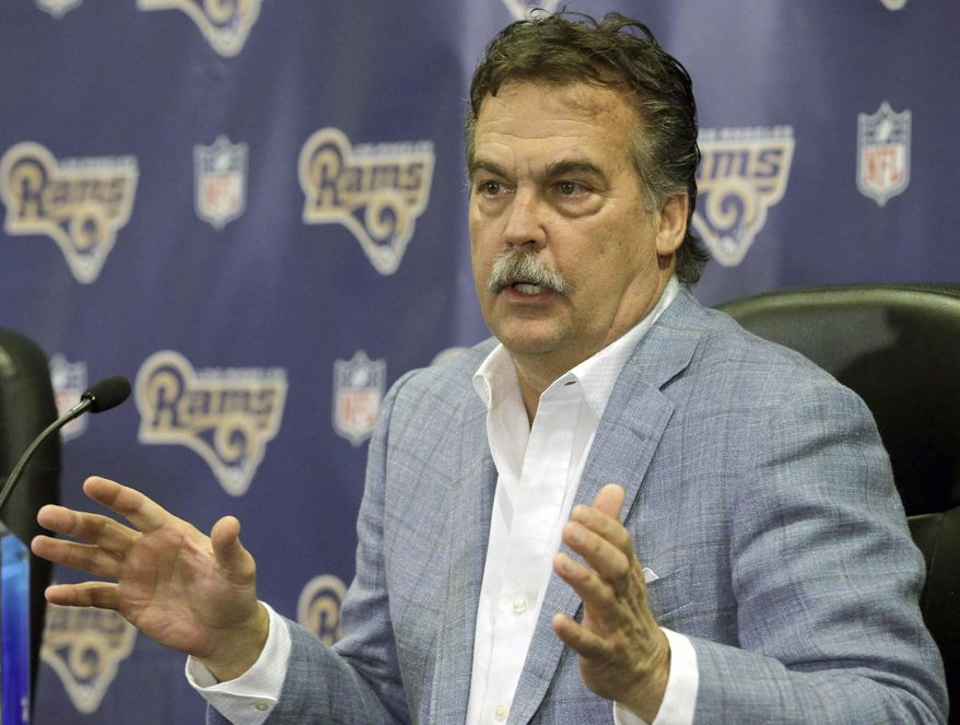 FILE - In this March 4, 2016, file photo, Los Angeles Rams head coach Jeff Fisher responds to a question during a NFL football news conference in Manhattan Beach, Calif. The Tennessee Titans have agreed to trade the top overall pick in this month's NFL draft to the Los Angeles Rams. The Titans announced the deal Thursday morning, April 14, 2016. (AP Photo/Nick Ut, Fiule)