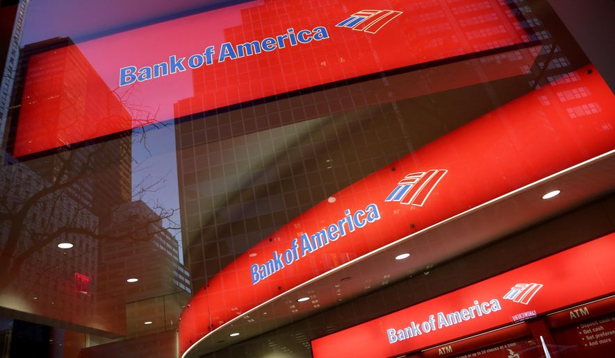 FILE - In this Nov. 23, 2015, file photo, shows a branch office of Bank of America, in New York. Bank of America reported first-quarter earns Thursday, April 14, 2016. (AP Photo/Mark Lennihan, File)