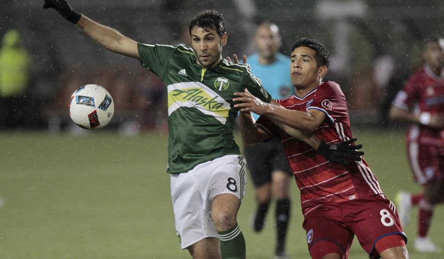 Portland Timbers midfielder Diego Valeri, left, and FC Dallas midfielder Victor Ulloa, right, race for the ball during the second half of an MLS soccer match in Portland, Ore., Wednesday, April 13, 2016. FC Dallas won 3-1. (AP Photo/Steve Dipaola)