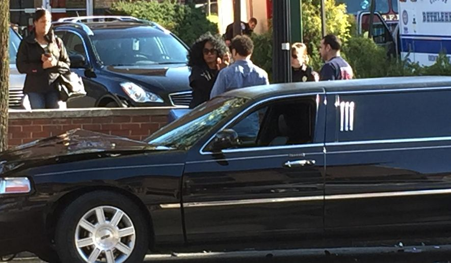 This photo provided by PBS39 WLVT, singer Diana Ross stands by her limousine that was involved in an accident  on Wednesday, April 13, 2016 in Bethlehem, Pa. Bethlehem police say the 72-year-old singer complained of head and neck pain after the crash on Wednesday afternoon. She was treated at the scene by paramedics and indicated she would seek further treatment on her own. (Brittany Garzillo /PBS WLVT via AP)
