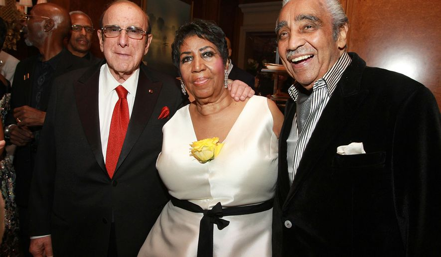 Music executive Clive Davis, singer Aretha Franklin and NY-Rep. Charles Rangel attend Aretha Franklin's 74th Birthday Celebration at the Ritz-Carlton on Thursday, April 14, 2016, in New York. (Photo by Donald Traill/Invision/AP)