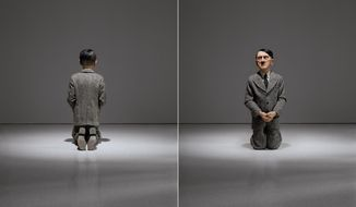 "This combination of undated photos provided by Christie's shows ""Him,"" a controversial sculpture of Adolf Hitler by Maurizio Cattelan. Viewed from the rear, it appears as a child-like figure kneeling in prayer. But from the front, viewers come face-to-face with a likeness of the Nazi leader. The work is among the highlights of a special sale at Christie's auction house in New York scheduled for May 8, 2016. (Christie's/Marian Goodman Gallery/copyright Maurizio Cattelan via AP)"