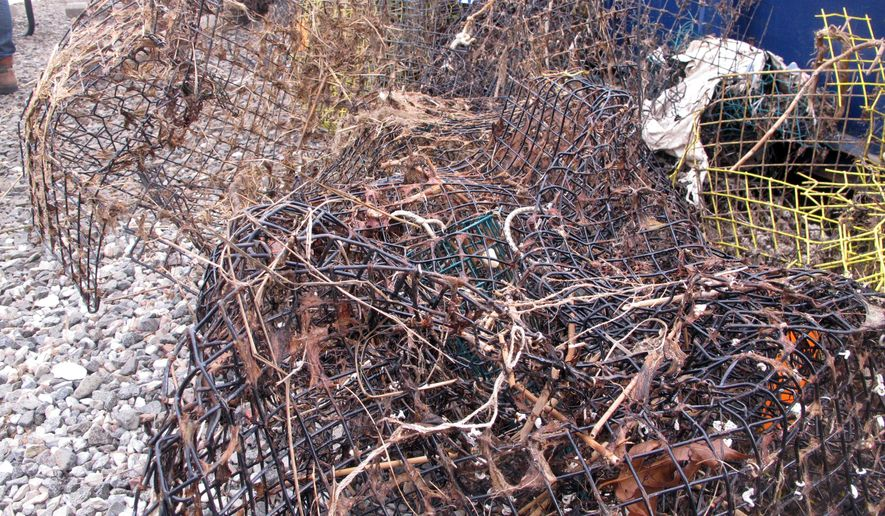 This Feb. 26, 2016 photo shows discarded crab traps that were retrieved from Barnegat Bay in Waretown, N.J. Efforts are under way around the world country to remove discarded fishing equipment from waterways, where it can kill marine animals and present a hazard to navigation. (AP Photo/Wayne Parry)