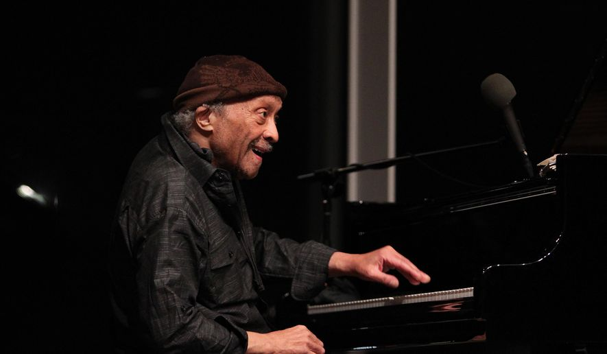 In this April 14, 2016 photo, pianist Cecil Taylor, 88, who revolutionized jazz by launching the free-jazz movement in the late '50s and early '60s, performs in an unannounced second set at the Whitney Museum of American Art in New York, kicking off a 10-day exhibition celebrating Taylor's music as well as his deep connection to dance, poetry and other art forms. (AP Photo/Barbara Woike)
