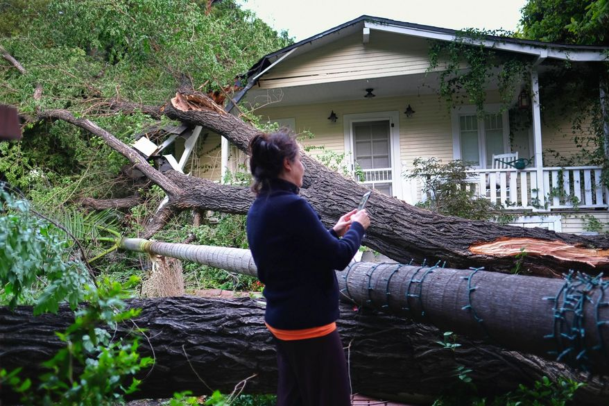 Brigitta Carlsson takes a photo of her neighbors front yard of fallen trees in a neighborhood near Los Angeles' Laurel Canyon on Friday, April 15, 2016. Strong winds are buffeting many areas of Southern California, and falling trees have caused damage. (AP Photo/Richard Vogel)