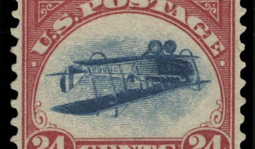 "This undated photo provided by Spink, USA, shows a 1918 ""inverted Jenny"" stamp. Stolen in 1955, the stamp surfaced last week at Spink USA, a New York auction house. Considered America's most famous stamp, inverted Jennies were worth 24 cents when issued, but they fetch hundreds of thousands of dollars today. (Spink USA via AP)"