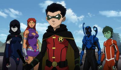 "Raven, Starfire, Robin, Blue Beetle and Beast Boy co-star in ""Justice League vs. Teen Titans,"" now available on Blu-ray from Warne Bros. Home Entertainment."