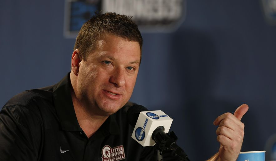 FILE - In this March 18, 2016 file photo, Arkansas Little Rock head coach Chris Beard responds to questions during a news conference as the team prepares for a second-round men's college basketball game in the NCAA Tournament in Denver. Beard has met with Texas Tech about its coaching vacancy, less than two weeks after being named UNLV's coach. UNLV athletic director Tina Kunzer-Murphy issued a statement Thursday, April 14, 2016, saying Beard met with Texas Tech after the school asked permission to speak with him.  (AP Photo/David Zalubowski, File)